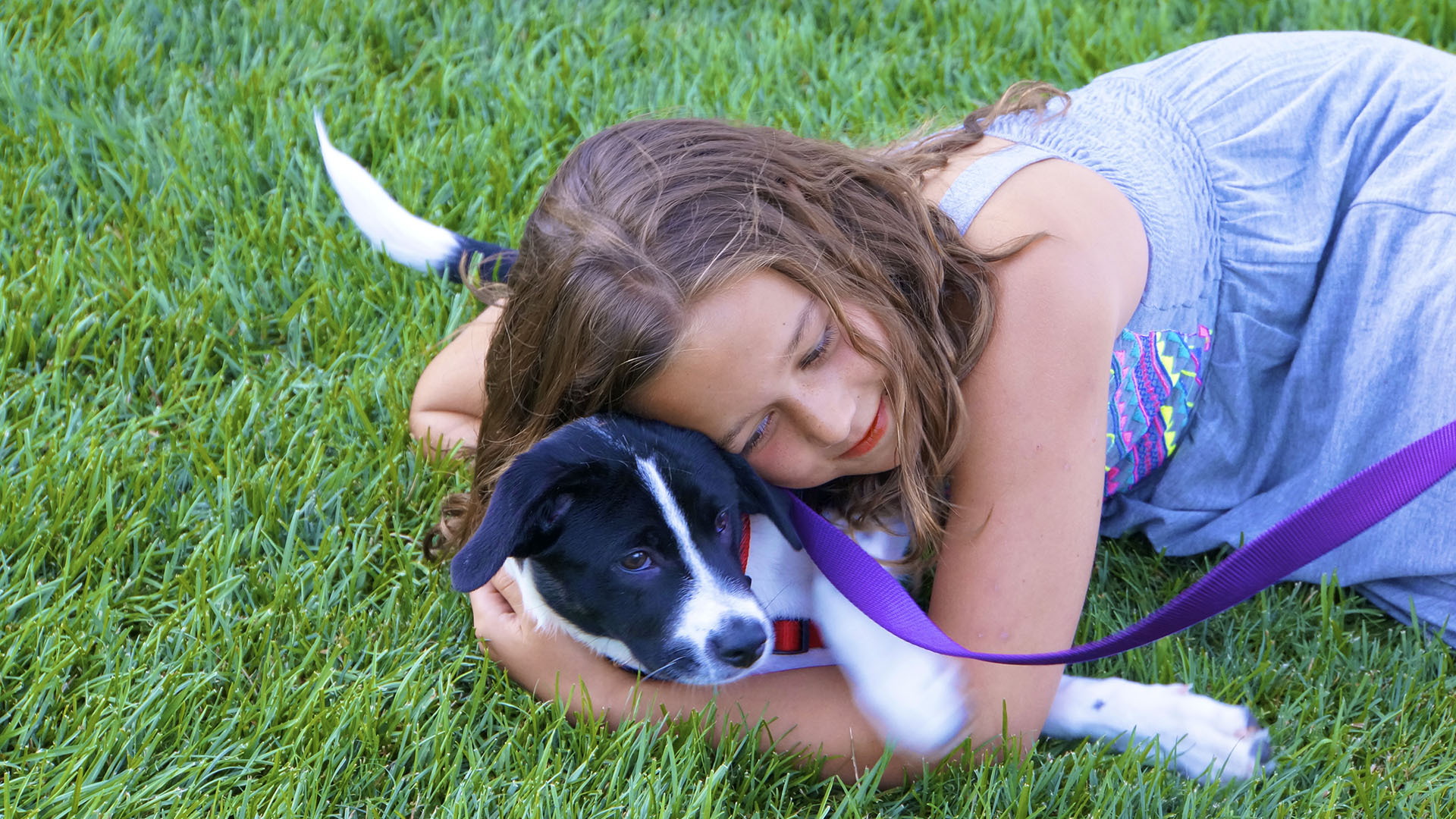 Little girl on grass w puppy 12